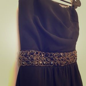Black and Gold Asymmetrical Formal Dress